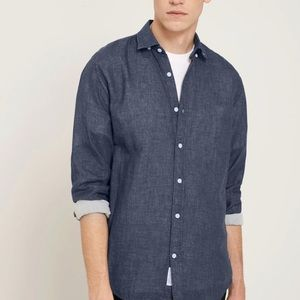 Frank and Oak Heather lined button down shirt